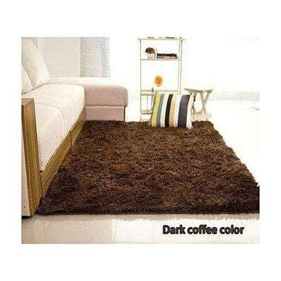 Shaggy Fluffy Carpet - 5x9 - Dark Coffee image 1