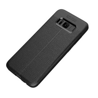 Auto Focus Leather Pattern Soft TPU Back Case Cover for Samsung S8/S8 Plus image 1
