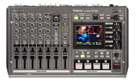 "Roland VR-3EX All-in-one AV Mixer with Built-in USB Port for Web Streaming and Recording, 2.5"" Multiview Touchscreen Monitor, Standard Definition 16:9 Mixing Engine, Scalers on Channel 4 and Output"