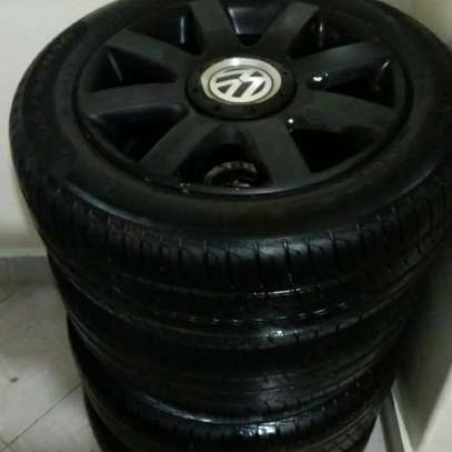 Slightly used car tyres plus rims image 1