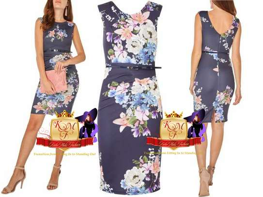 Blue Belted Floral Print Bodycon Dress