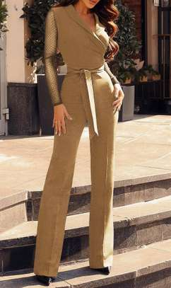Long Sleeves Formal Wrap Jumpsuit with Belt Sizes M L XL