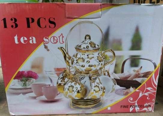 13pcs tea set with metal stand image 1