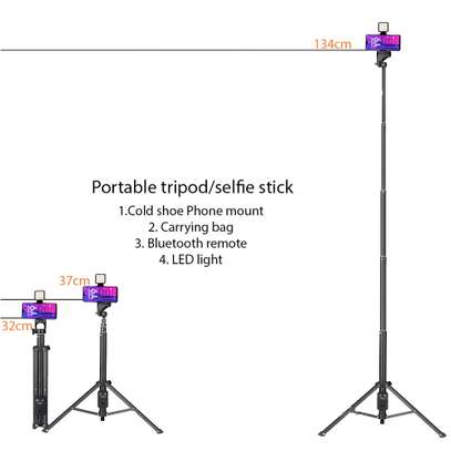 Mojo Kit with Tripod/Selfie stick + Phone Mount + BT remote + LED light + Carryng bag