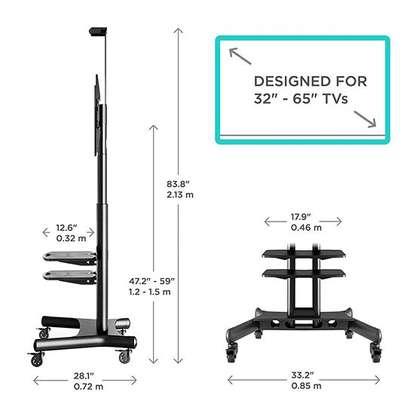 """ONKRON Mobile TV Stand TV Cart with Wheels & 2 AV Shelves for 32"""" – 65 TS1552 image 5"""