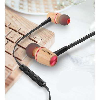 Awei ES80TY Wooden Dynamic Earphones In Ear Stereo Subwoofer Bass, Mic image 3