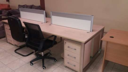 4 (Four) Way Workstation, with Top Screens 2.8Meters With 4 Mobile Pedestal Drawers image 1