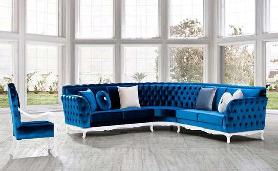 Sofas and sectionals/Modern chesterfield L seat/blue five seater L shaped sofas image 1