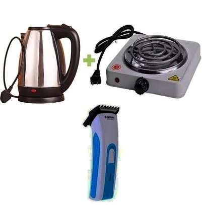 ELECTRIC KETTLE + HOT PLATE + HAIR TRIMMER image 1