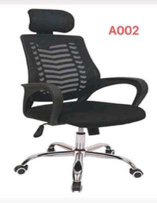 Wheeled base headrest office seat image 1