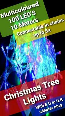 Fairy string lights multicoloured 100 LED'S 10 meter and E.U to U.K adapter plug image 1