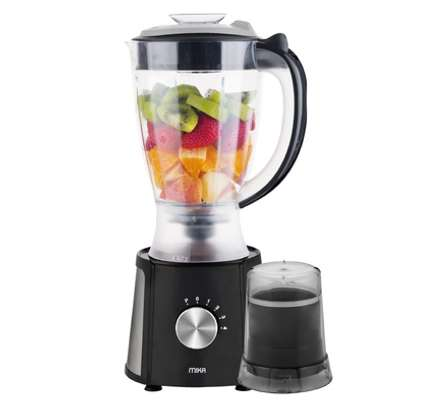 MIKA 2 in 1 Blender, 1.5L, 400W, With Grinder, Black with Stainless Steel Sides & Chrome Control knob image 1