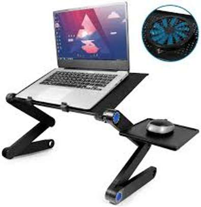 Adjustable laptop stand with mouse holder and cooling fan image 1