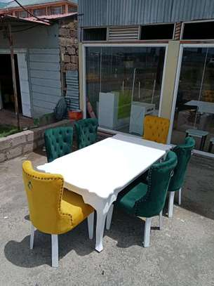 Six seater dining table set/modern white rectangular dining tables for sale in Nairobi Kenya/latest dining table designs/tufted fabric dining chairs for sale in Nairobi Kenya/best dining table makers in Nairobi Kenya/Customized Furniture designs/Nairobi Furniture image 3