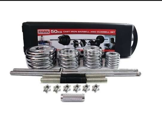 York Fitness 50KG Cast iron barbell and dumbbell set