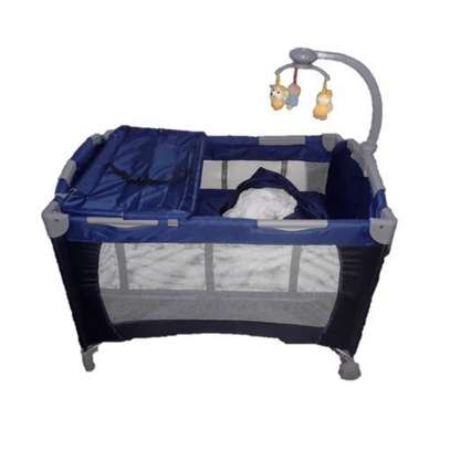 Baby cot playpen baby crib with changing table net and toys- blue image 2