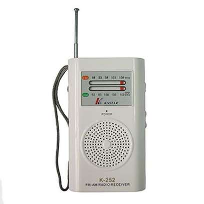 AM/FM Portable Pocket Radio Receiver Hand Strap For Easy Carrying - White. image 1
