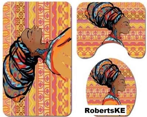 bathroom mats African print  orange image 1