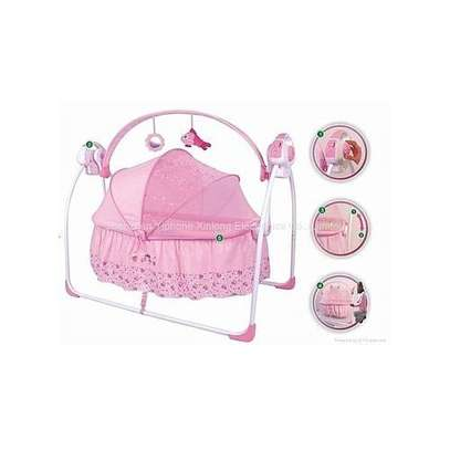 Electric Primi Rocking Baby Bed with Mosquito Net - Pink image 2
