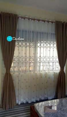 brown custom-made  linen curtains image 1