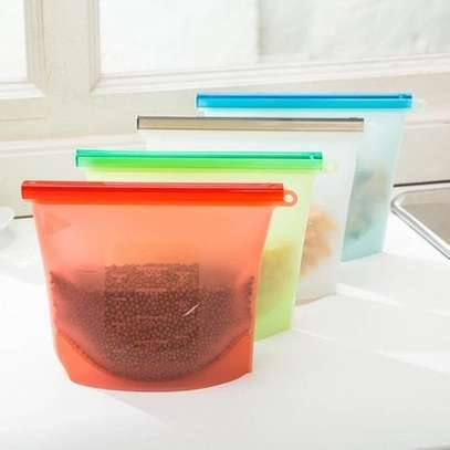 4 Pieces Reusable Silicone Food Storage Fridge Bags image 1