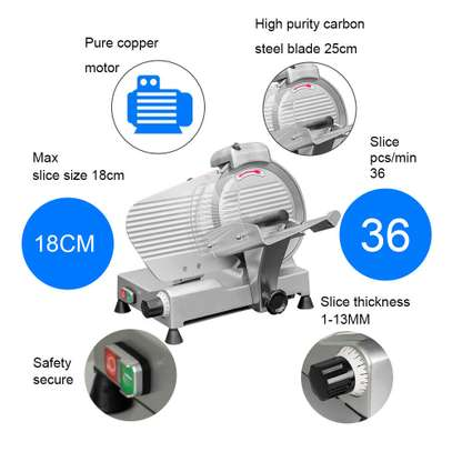 Electric Meat Slicer Cutter 10 In. Stainless Steel 240-Watts Semi-Automatic image 4