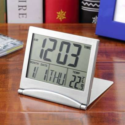 Mini Folding LCD Digital Alarm Clock Desk Table Weather Station Desk Temperature Portable Travel Alarm Clock image 4