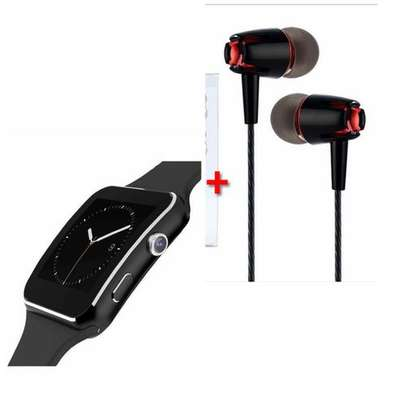 X6 Smart Watch Phone And Free Earphones - Black image 1