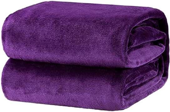 Soft Warm Fleece Blanket 150*203 Cm- Purple image 1