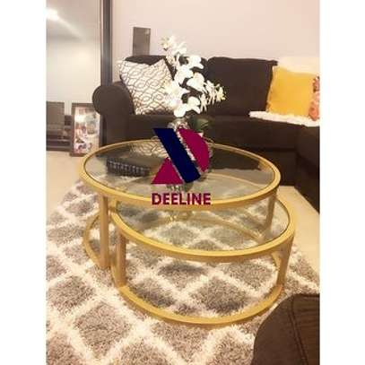 2 Piece Nesting Cocktail Table Set (Gold) image 2