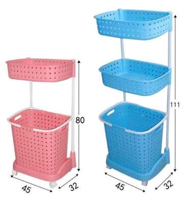 Laundry basket with wheels 3 tier image 1