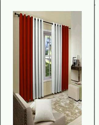 Red and white curtains image 1