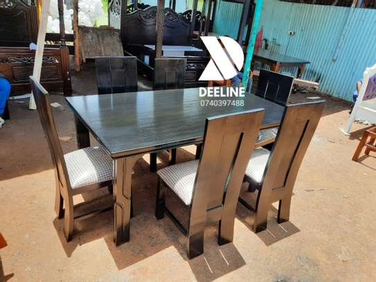 Black rectangular 6 seater dining table sets image 12