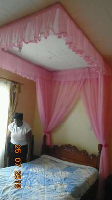 Mosquito Nets Sliding Like Curtains Fixed On The Ceiling image 3