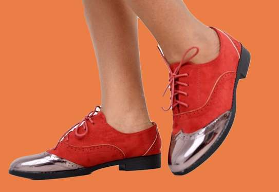 Fashion Brogues Ladies Laced Shoes Red/Silver/Black image 2