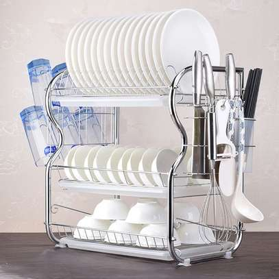 Stainless Steel 3-layer Dish Rack image 1