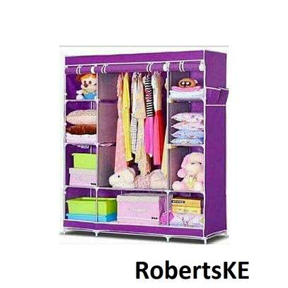 wooden non-wooven portable wardrobe image 1