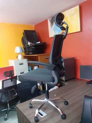 Executive Orthopedic Mesh Chairs With Tilt Mechanism, Adjustable Headrest & Foldable Arms image 3