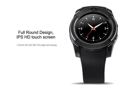 """V8 1.22"""" Round Screen MTK6261 IP65 Android Bluetooth Smart Watch With Sim card Toolkit - Black image 3"""