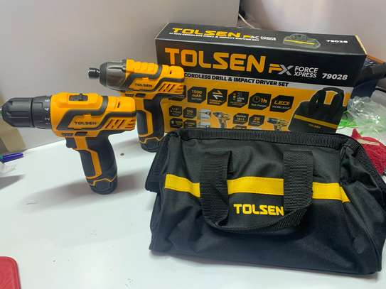 Tolsen 12V cordless drill with impact driver pack image 1