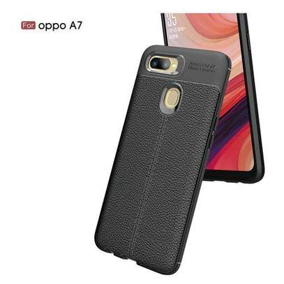 Auto Focus Case Luxury Soft Silicon Litchi Striae Leather Cases For OPPOA7 Case Coque Shock Proof Back Cover (Black) image 2