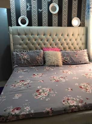 High board tufted leather bed 6*6 image 4