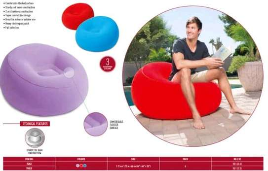 Bestway inflatable flocking bean bag chair with pump image 1