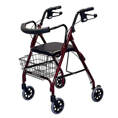 Four Wheels folding Lightweight Rollator Walker​ (Aluminum Walking Aid Walker Rollator with shopping basket) image 2