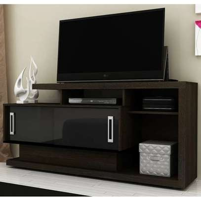 Tecno Mobili TV Stand Rack For 50' TV - Dark Brown/ GLOSS BLACK DOORS image 3