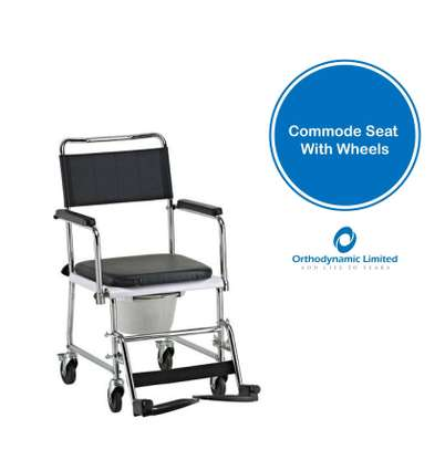 Commode seat with wheels fixed armrest image 1