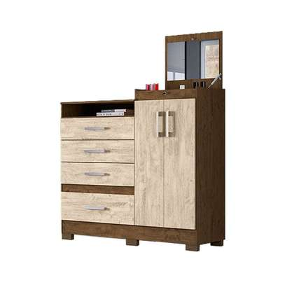 Moval Chest Elegance Dresser 4 Drawers & 2 Doors With Mirror image 1
