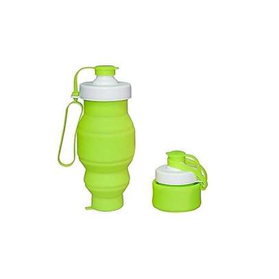 Food Grade 520ML Silicone Collapsible Water Bottles Travel Folding Cars Portable Foldable Drink Bottle-Green image 1