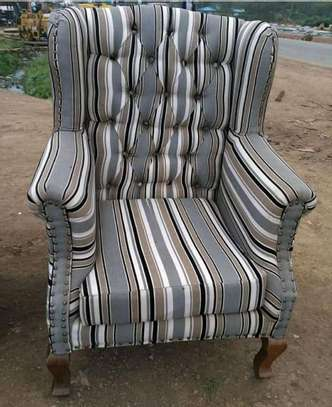 Flowered Chesterfield king chair image 1