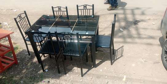 Six chairs dining table image 1